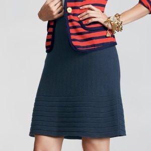 CAbi Navy Bon Voyage Chevron Knit A-Line Skirt M